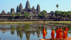 Buddhist monks infront of Angkor Wat temple