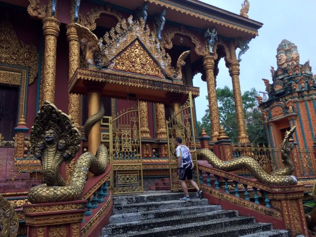 Main entrance to Khmer pagoda - mekong delta