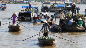 CaiRang floating market in CanTho - mekong river cruise Vietrnam