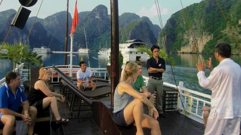 Practice Taichi on board - halong bay cruise