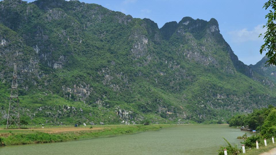 Scenery of limestone Karst mountain from Hanoi to Ninh binh