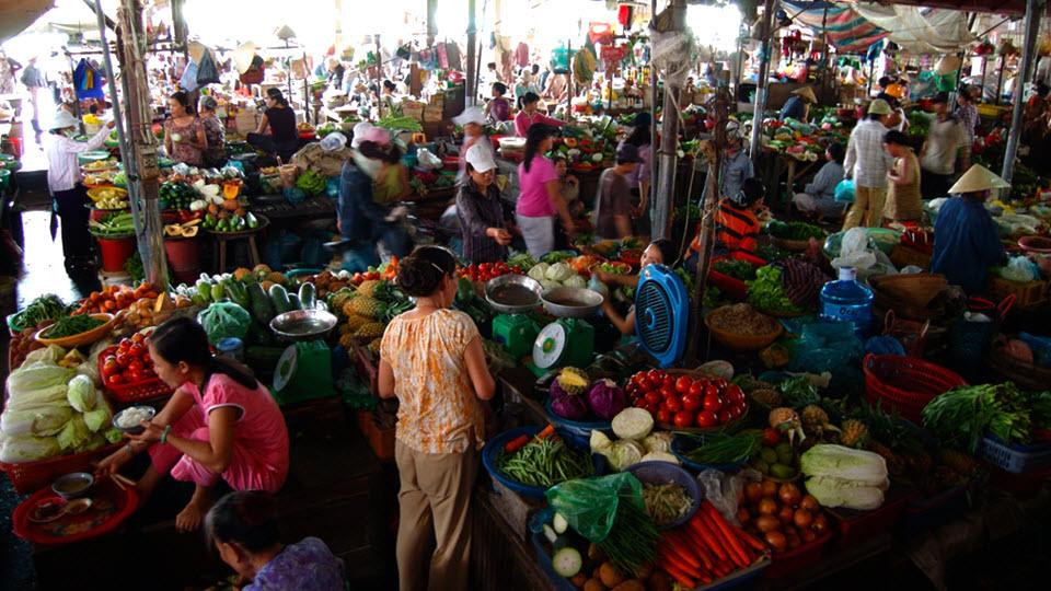 Vegetables market in Hoi an Vietnam