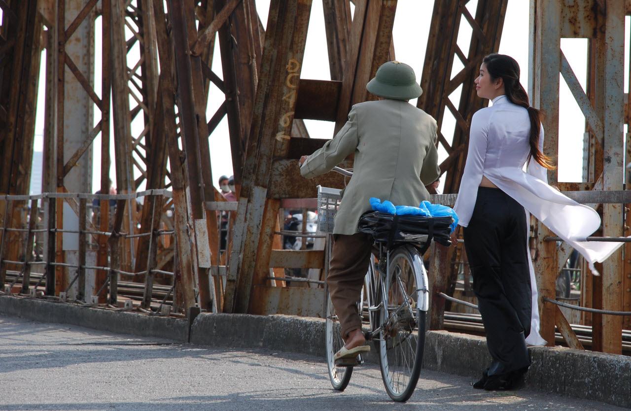 Old Long Bien bridge in Hanoi