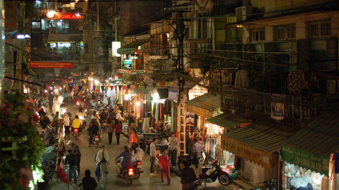 DinhLiet street at night in Hanoi old quarter