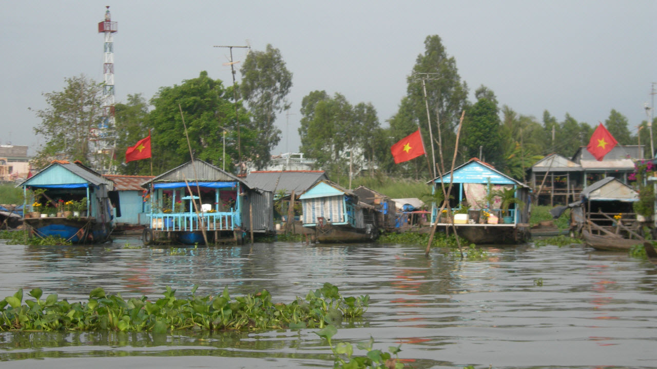Mekong delta tours to Cambodia - floating village in Chaudoc