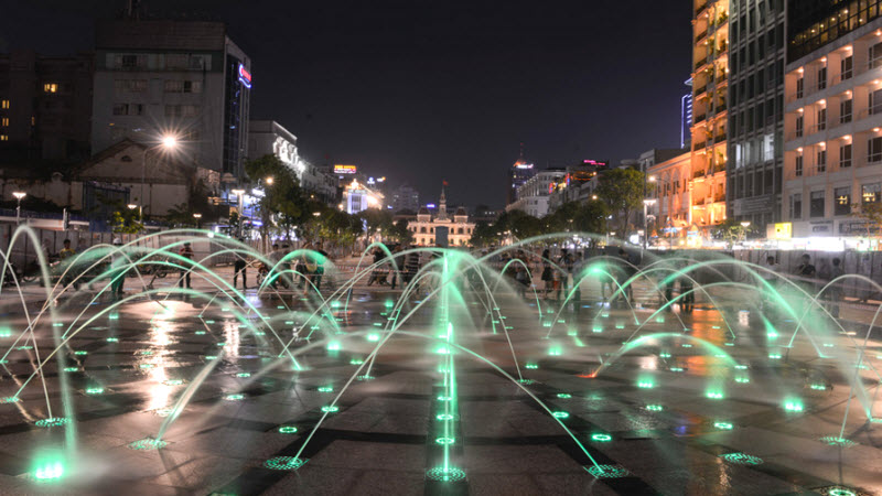 Nguyen Hue blvd at night - Ho Chi Minh City Tour