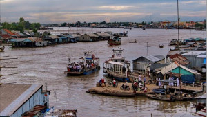 Ferry to ChauGiang in ChauDoc market - mekong delta Vietnam