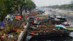 Boat with flowers for Tet 2021 holidays in Ho Chi Minh city